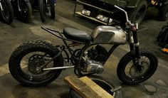 Yamaha RD125 street tracker custom with monoshock swingarm by KaBiRo customs, via Bubble Visor