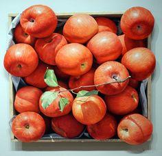 Yoon Byung Rock (contemporary Korean artist, born – fresh apples, a healthy simple dessert – oil on Korean paper Bamboo Art, Ikea Kids, Fresh Apples, Korean Artist, Flower Art, Art Flowers, Optical Illusions, Watercolor And Ink, Art Techniques