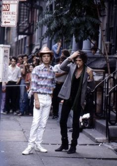 Mick and Keith filming video of Waiting On A Friend in St Marks Place, New York City, 1981