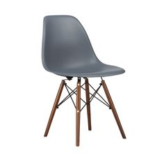 Amazon.com - Poly and Bark Eames Style Molded Plastic Dowel-Leg Side Chair, Grey, Set of 2 -