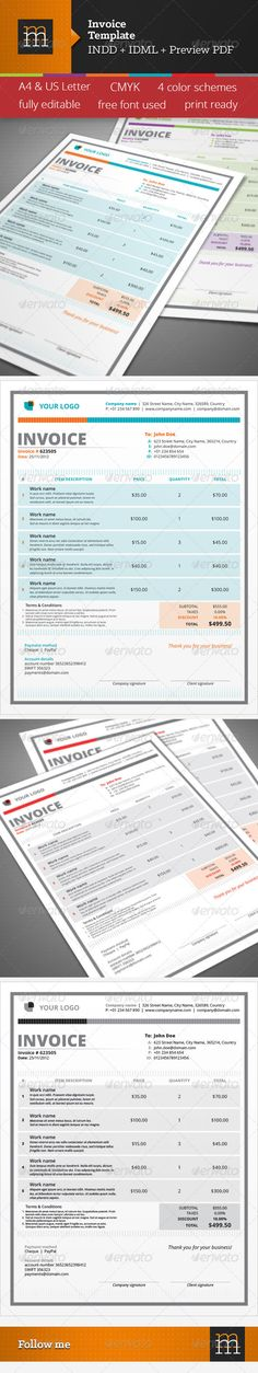 Invoice Template  Template Corporate Design And Fonts