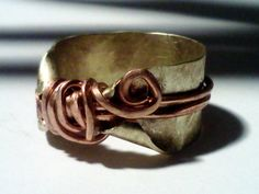 Brass and copper ring, Band, elven ring,Fairy Ring, Twisted Brass ring, Brass Thumb ring