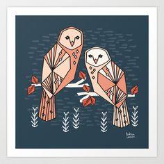 Bird - Barn Owls Art Print by Andrea Lauren Design