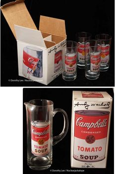 Cambell's Campbells Soup Andy Warhol Pitcher & 4 Glasses