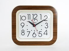 Vintage Timex Electric Wall Clock / Cream Brown Retro by PopBam