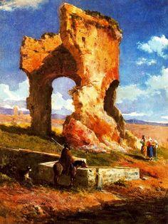 Ruinas romanas (1865) Mariano Fortuny Spanish Painters, Spanish Artists, Mariana, Online Art, Ruins, Fabric Design, Art Nouveau, Pottery, Tapestry
