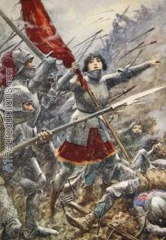 Joan of Arc leading her men holding the standard by A C Michael