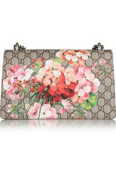 Gucci | Dionysus Blooms coated canvas and suede shoulder bag | NET-A-PORTER.COM