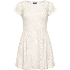 Dorothy Perkins **Quiz Stretch Lace Dress ($49) ❤ liked on Polyvore featuring dresses, cream, white dress, cream cocktail dress, cream dress, knee-length dresses and dorothy perkins