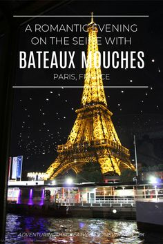 See Paris from a new perspective by booking a dinner cruise on the Bateaux Mouches! Cruise along the Seine, enjoy a glass of wine on the deck, and watch the Eiffel Tower sparkle as you relax in luxury. Paris | France | Seine River Cruise | Dinner Cruise | Honeymoon | Eiffel Tower | Romantic Things to do in Paris | Proposal Spots in Paris | Europe | Bateaux Mouches