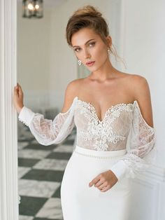 Julie Vino stunning off the shoulder vintage bodice wedding gown - Brides of Adelaide