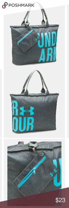 """NWT, Under Armour Big Wordmark Tote Super-durable 420 denier Polyester construction Fully-lined with easy access zippered top entry Detachable zippered pouch for extra on-the-go storage Soft & sturdy webbed straps stay breathable for optimal comfort Dimensions: 15"""" x 5"""" x 20"""" Volume: 1,800 Cubic In. / 30 L Polyester Colors: Graphite and Phantom Gray Perfect Gift, still in wrapping and bag, see pic #4. Under Armour Bags Totes"""