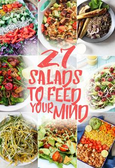 Let your mouth water and your eyes bulge at this glorious collection of 27 salads to feed your mind! Grab a cup of tea, a comfy seat and get ready to drool! Best Vegan Recipes, Whole Food Recipes, Vegetarian Recipes, Cooking Recipes, Healthy Recipes, Salad Bar, Soup And Salad, Healthy Salads, Healthy Eating