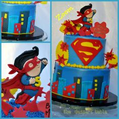 superman cake love this cake supper hero comic theme city scape. red , blue , yellow