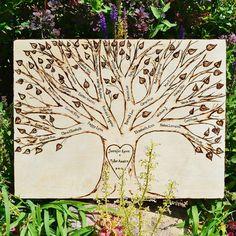 Wood Burned Couple Family Tree by PaintBrushedBoutique on Etsy, $150.00