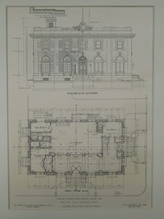 Elevation and First Floor, U.S. Post Office, Pekin, IL, 1905, Original Plan. James Knox Taylor.