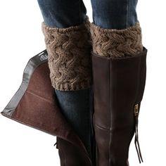 FAYBOX Short Women Crochet Boot Cuffs Winter Cable Knit Leg Warmers Brown