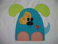 Applique dog - so cute! Applique Templates, Applique Patterns, Applique Quilts, Applique Designs, Embroidery Applique, Quilt Patterns, Machine Embroidery, Embroidery Designs, Dog Quilts