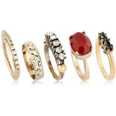 Iosselliani Women Anubian 5 Ring Set ($295) ❤ liked on Polyvore featuring jewelry, rings, gold, iosselliani jewelry, iosselliani, nickel free rings, set rings and nickel free jewelry