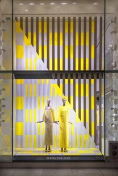 Louis Vuitton's  creative collaboration with Daniel Buren continues with the French conceptual artist's designs for the  windows of the New York Fifth Avenue store.
