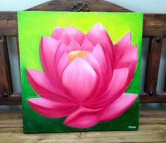 Excited to share this item from my shop: Lotus Painting Lotus Painting, Flower Painting Canvas, Simple Acrylic Paintings, Lotus Flower Art, Lotus Art, Pink Lotus, Flower Diy, Pichwai Paintings, Madhubani Painting