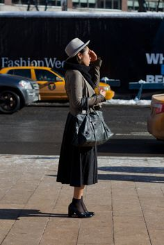 Hat, skirt and boats, Womens street style New York Fashion Week F/W 2013