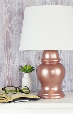 Simple Rose Gold Lamp - Project by DecoArt Old Lamps, Lamp, Lamp Redo, Viva Decor, Rose Gold Lamp, Gold Paint, Rose Gold Painting, Gold Lamp, Painting Lamps