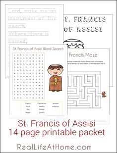 St. Francis of Assisi Printables and Worksheet Packet