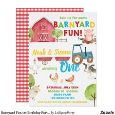 Shop Barnyard Fun Birthday Party Farm Animals Blue Invitation created by LollipopParty. Personalize it with photos & text or purchase as is! Farm Animal Birthday, Boy First Birthday, 1st Boy Birthday, Boy Birthday Parties, Birthday Animals, Happy Birthday, Birthday Ideas, Farm Party Invitations, 1st Birthday Invitations
