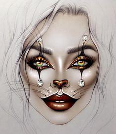 ♡ Makeup Face Chart by ♡ Makeup Drawing, Cat Makeup, Clown Makeup, Halloween Face Makeup, Mac Face Charts, Makeup Face Charts, Bridal Makeup Looks, Wedding Makeup, Clown Faces
