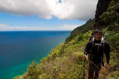 The backpacking trail that leads you to one of the finest camping destination in all of Hawaii. Backpacking Trails, Hiking, Adventurous Honeymoon Destinations, Kauai, Hawaiian, Camping, Vacation, Adventure, Mountains