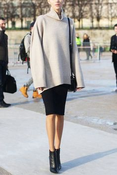 What to Wear to Work: Turtleneck Sweater, Jersey Pencil Skirt, Ankle Boots