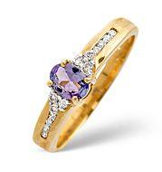 The Diamond Store.co.uk Tanzanite and 0.10CT Diamond Ring 9K Yellow Gold Tanzanite amp