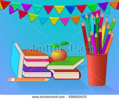 School set on blue background. Colored pencils in red cup. Books with color cover. Red apple. Colored flags.  Raster copy