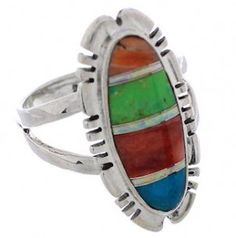 Southwestern Multicolor Inlay Sterling Silver Jewelry Ring Size 8-1/2 EX21929 http://www.silvertribe.com