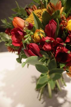 Orange and Red Bridal Bouquet with a hint of Bling!