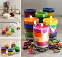 CRAYON SMALL JUICE CANDLE OR SHOT GLASS  USE A THICK WICK