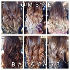#ShareIG a tonnnn of my clients are always asking me what the difference is between ombré and balayage.there it is guyyyys the top 3 are ombres, where it gradually melts from dark to light.i always like to add some balayage with my ombres just so it looks like a more dramatic/cool ombré, and balayage is a lot more natural and dimensional with all different tones of colors.they're both so beautiful and easy maintenance #teameasymaintenance #hairbylema #ombre #balayage #balayagedombre ...