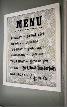Homemade dry erase menu board
