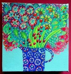 Original-acrylic-painting-box-canvas-colourful-garden-floral-modern-flowers