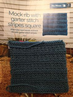 Issue 20 - Mock rib with garter stitch stripes square