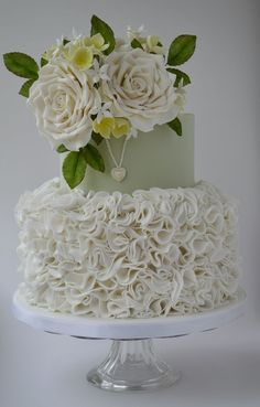 White ruffles, roses and Pearl Locket Wedding Cake ~ totally edible