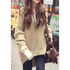 Women's Korean Knitwear Knitting Loose Long Irregular Hem Hooded Sweater Coat Outerwear