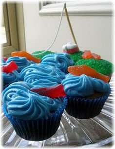 fishy cupcakes.   I had a fishy cake similar to this for a birthday once :)