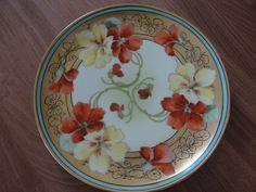 """Beautiful Antique """"Havilland Limoges"""" France Hand Painted Flower Plate. Yellow and Orange Nasturtium flowers, gold rim with a green stripe. Signed by Artist: FW Also stamped """"W Pickard A china Hand Painted"""". 
