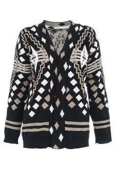 Black and Mocha Open Front Knitted Cardigan on shopstyle.ca