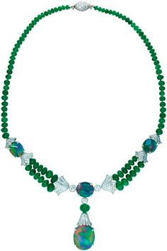 Necklace made of platinum, emeralds, opals and diamonds from the company's Oscar Heyman