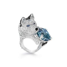 Boucheron. LAÏKA,LE HUSKY Ring set wita 31,21 ct burmese light greyish-blue antique cushion sapphire, grey spinels and sapphires, paved with diamonds, on white gold. Hiver Impérial.