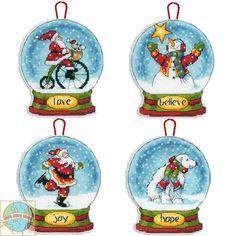 Dimensions Set of 4 Snow Globe Christmas Ornaments - Cross Stitch World