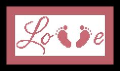 Baby Feet Cross Stitch Pattern LOVE PDF File by threadsandthings1